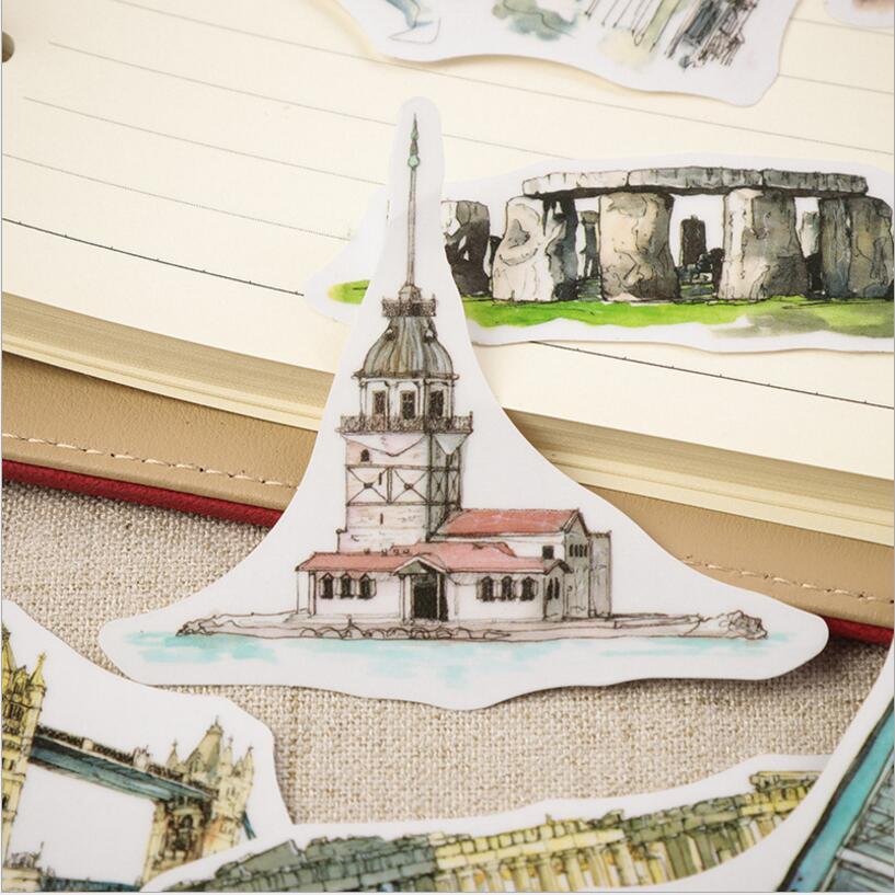 42 Pcs Lot World Famous Landscape Architecture Sticker Decoration