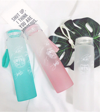 New kpop BTS Bangtan Boys Group official The Same Summer gradient frosted glass bottle freshness letter Lemon cup(China)