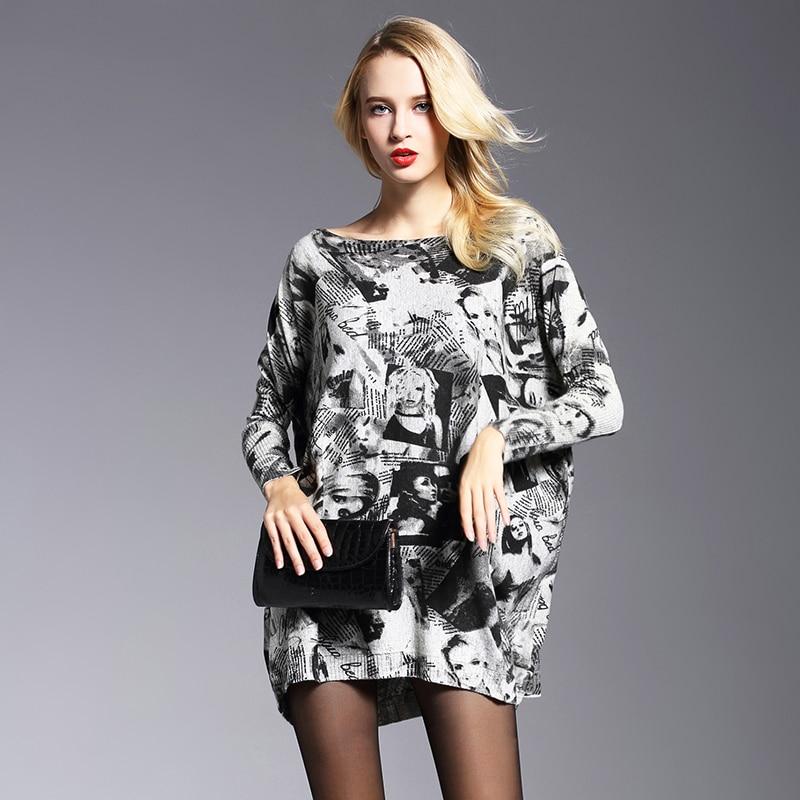 81eeb6904 2018 جديد أزياء النساء اللباس فساتين الطباعة الصوف البلوز طويلة الأكمام  مائل زائد حجم فستان تريكو فضفاض سترة فساتين 6011