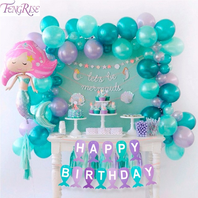 FENGRISE Paper Mermaid Banner Kids Birthday Party Supplies Decoration Happy Garland Girl