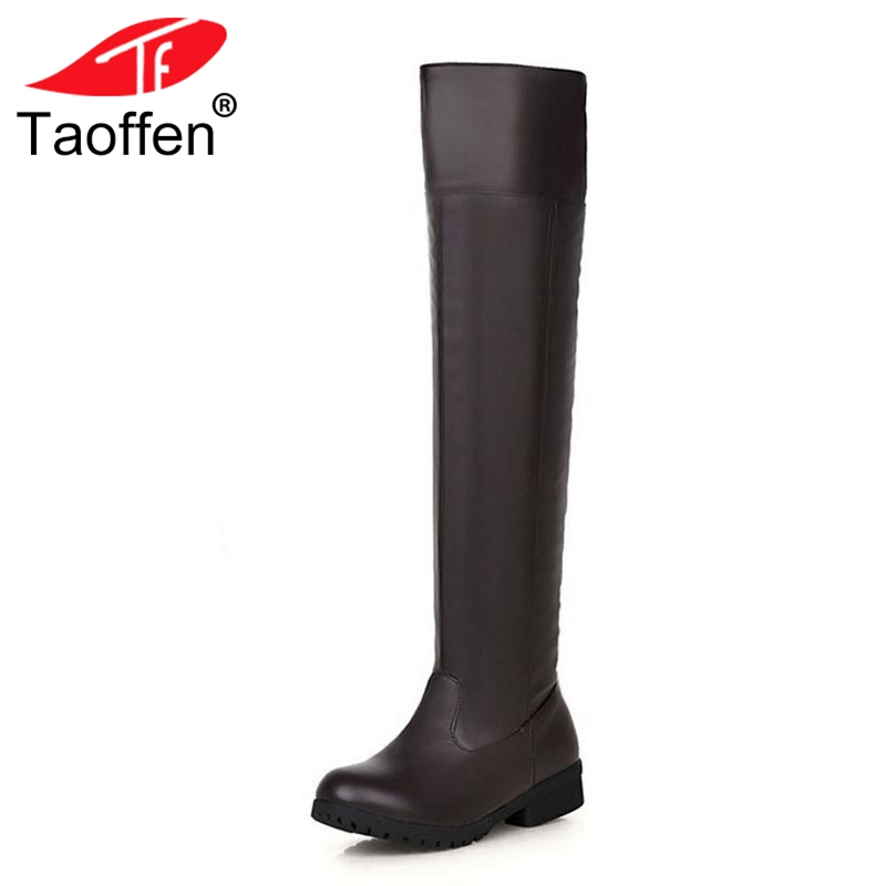 Taoffen Plus Size 34-48 Women Over Knee Boots Warm Fur Shoes Women Round Toe Solid Color Winter Flats Boots Sexy Lady Shoes sexy women s round neck ruffled solid color top