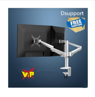 Free Shipping OA 4S Aluminum Desktop Double Arm Dual Monitor Holder Bracket Full Motion LED Screen Mount Arm Rotary Base Stand