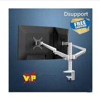 Gratis Verzending OA-4S Aluminium Desktop Dubbele Arm Dual Monitor Houder Beugel Full Motion LED Screen Mount Arm Rotary Base Stand