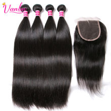 Vanlov Malaysian Straight Hair Weave 4 Bundles With Closure 100% Human Hair Bundles With Closure Non Remy Black 5Pcs/ Lot(China)