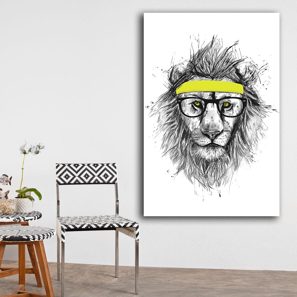 2016 free shipping Cuadros Decoracion Painting hipster lion Home Decorative Art Picture Paint On Canvas Prints no frame