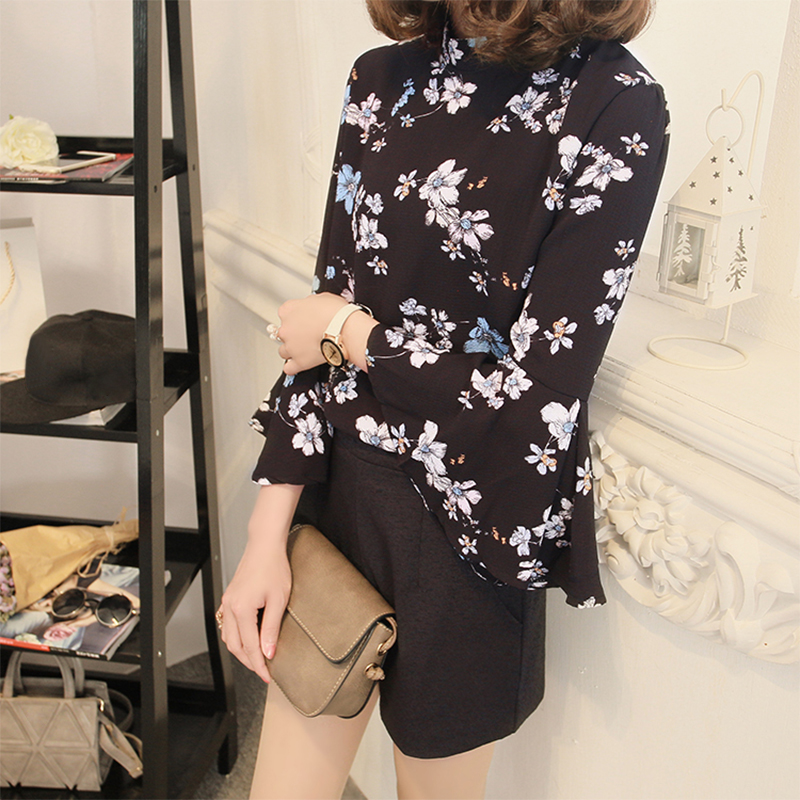 50f65a5101e Fashion Women Floral Print Chiffon Blouse Colthes Flare Sleeve Long Sleeve  womens Tops and Blouses Shirts plus size For Office