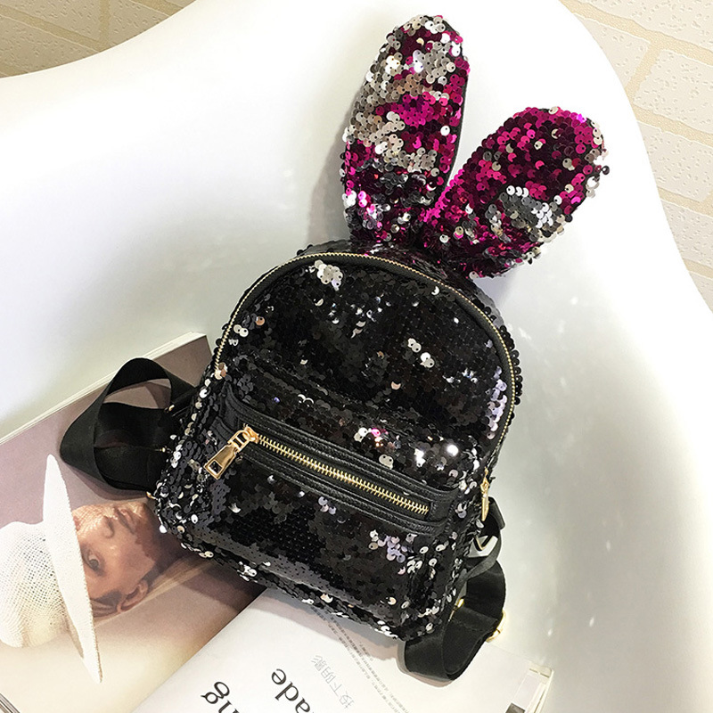 RU BR Rabbit Ears Fashion Women s Shoulder Bag New Casual Sequins Small Mini Backpack New
