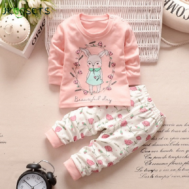 2017 Autumn Winter Baby Boy Girl Clothes Long Sleeve Top + Pants 2pcs Suit Baby Clothing Set Newborn Kids Clothing Free Shipping