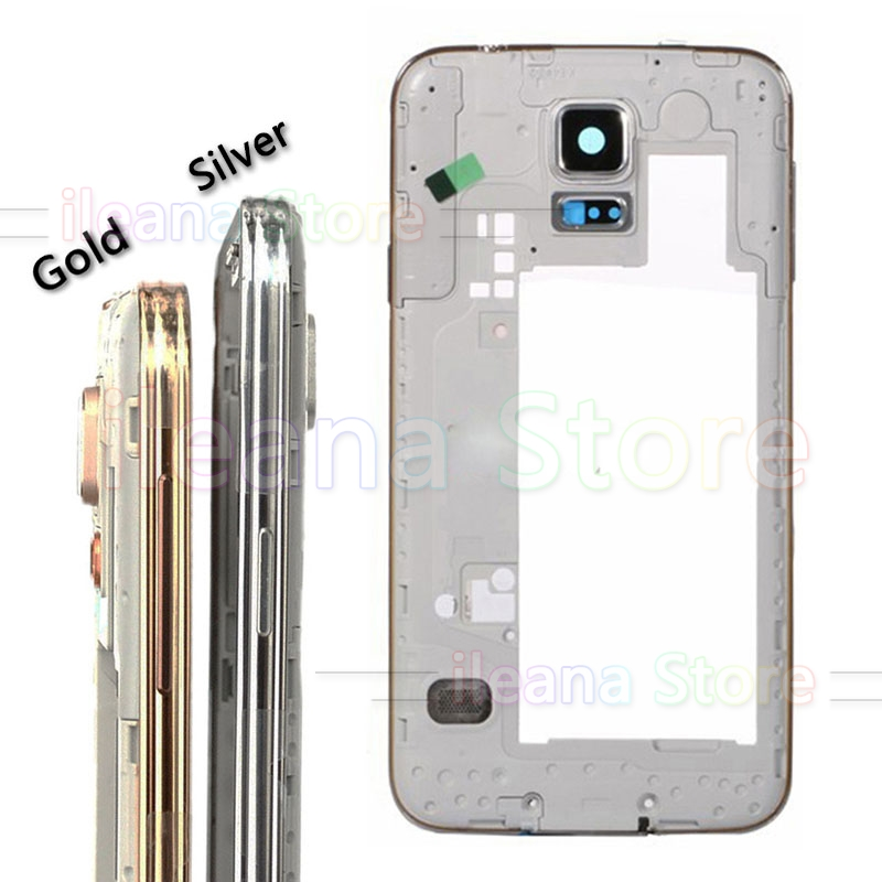 For <font><b>Samsung</b></font> <font><b>Galaxy</b></font> <font><b>S5</b></font> G900 G900H <font><b>G900F</b></font> Middle Bezel Plate Front Frame Housing Cover With Camera Glass Ring Gold Silver Original image