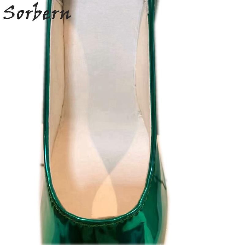 Sorbern Non talons femmes pompes chaussures plate forme sans lacet vert profond dames parti pompes en cuir verni T talons hauts pour boîte de nuit - 3