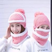 Mode Nieuwe vrouwen Hoed Soild Hoeden Voor Vrouwen Winter Warm Masker Sjaal Mutsen Sets Skiën Klimmen Caps Scarives Sport