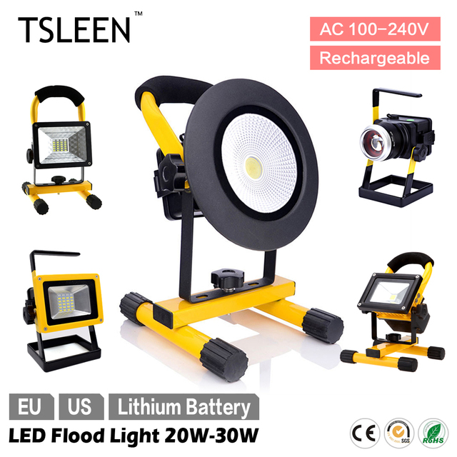 TSLEEN 5 Models Waterproof LED Flood Light Portable Spotlight 30W/20W Zoom Dimmer Lamp EU US Plug Outdoor Camping Night Lamp