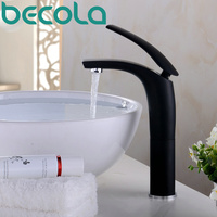 BECOLA Black paint hot and cold Basin Faucet Black Faucet Brass Chrome Sink Mixer Tap Gold plated Bathroom Faucet free shipping