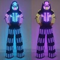 New Arrivals LED Robot Costume David Guetta LED Robot Suit, Laser robot jacket Rangers Stilts Clothes Luminous Costumes