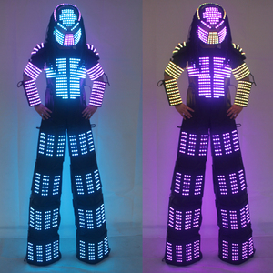 Nuevas llegadas disfraz de Robot con LED David Guetta LED traje de Robot láser chaqueta robot Rangers zancos ropa luminosa trajes