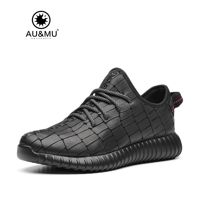 2018 AUMU Australia Brand New Leather Grid Pattern Leather Casual Shoes G107 2018 aumu australia rhinestone shiny
