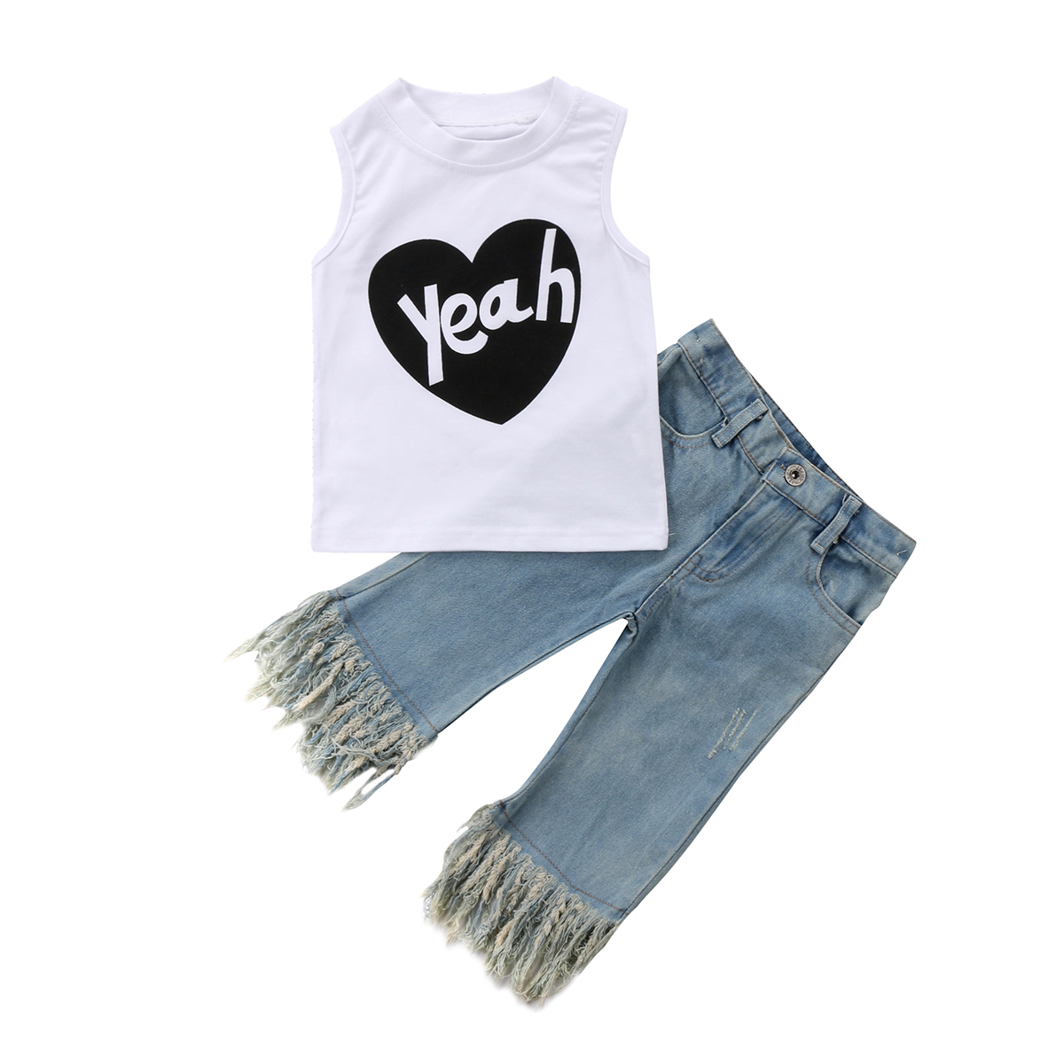 2Pcs Fashion Girls Clothing Toddler Baby Kids Girl Vest Sleeveless Top Tassels Jeans Den ...