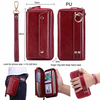 Finger Ring Belt Hand Strap PU Wallet Mobile Phone Case Pouch For Galaxy A7 (2017)/C9 Pro/ON8/J7 Prime/On7 (2016),Oneplus 5/5t