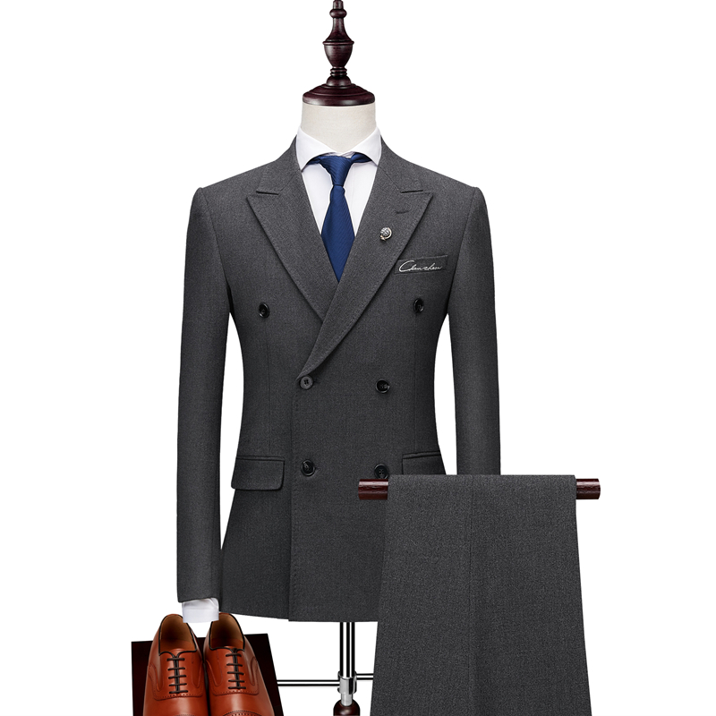Plyesxale 더블 브레스트 양복 남자 2018 슬림 맞는 망 정장 바지 블랙 그레이 남자의 결혼식 신랑 자 수 정장 2 pcs q186-에서정장부터 남성 의류 의  그룹 2