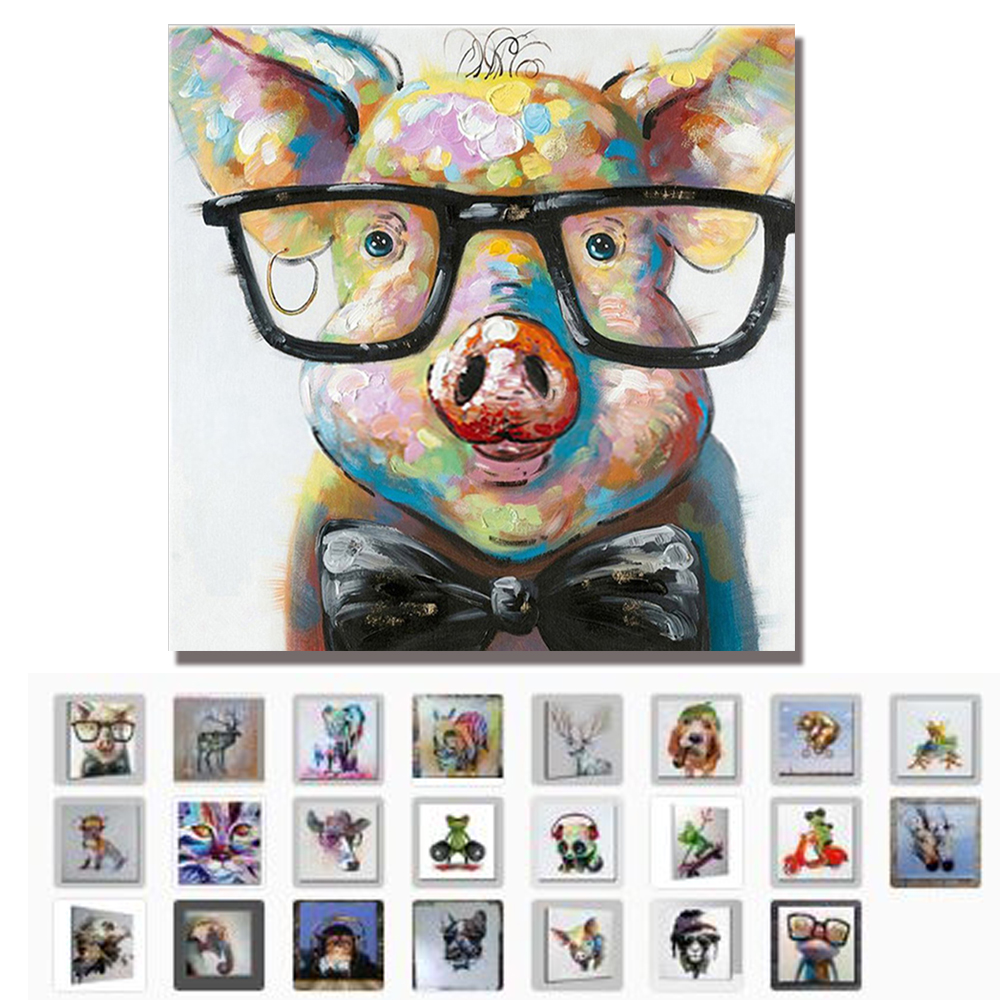 Hand Painted Modern Abstract Cartoon Animal Oil Painting On Canvas Pig Wearing Glasses Wall Art For Living Room Home Decor