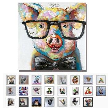 Schon Handgemalte Moderne Abstrakte Cartoon Tier Ölgemälde Auf Leinwand Schwein  Tragen Gläser Wand Kunst Für Wohnzimmer Wohnkultur