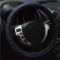 Leather Steering Wheel Cover Universal 37cm 38cm Steering Wheel Wrap Protective Pad Car Accessories