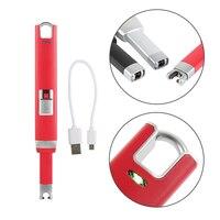 2017 Electronic Windproof Zinc Alloy Lighter USB Rechargeable Flameless Electric Arc Cigar Cigarette Lighter