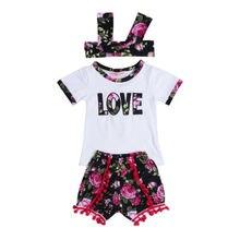 330e8641695ea 3 adet sevimli Yenidoğan Çocuk Bebek Kız Çiçek Giyim Giyim t gömlek + Tutu  Pantolon + kafa toplu çocuk giyim set