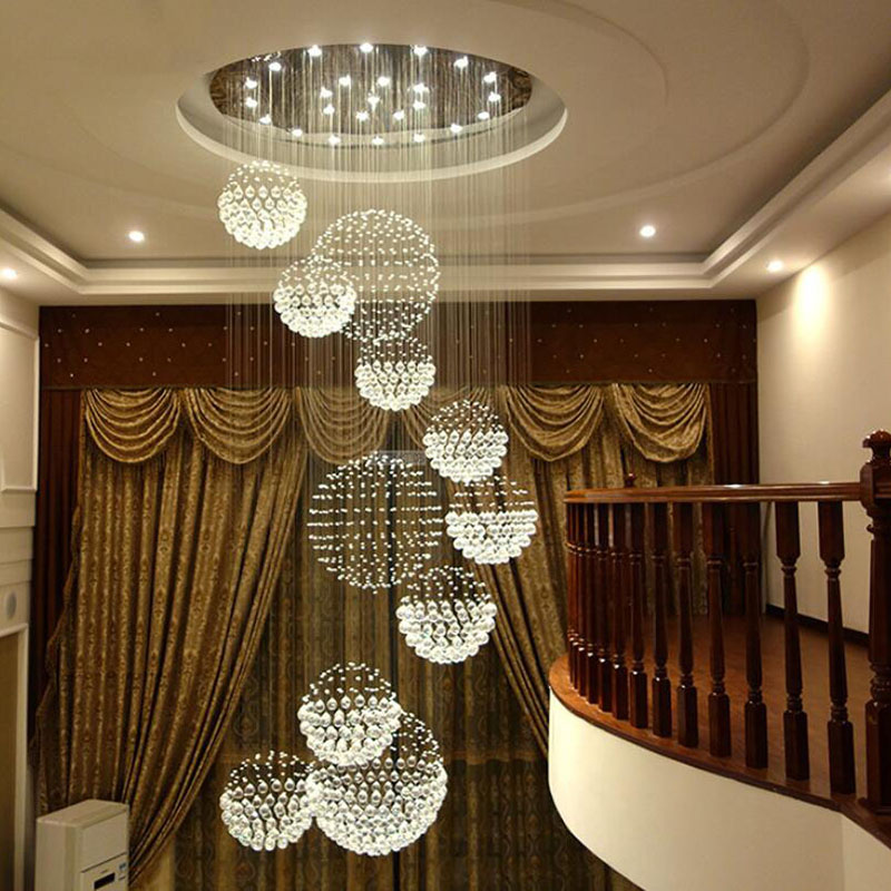 Lighting Basement Washroom Stairs: Modern Luxury Villa Duplex Staircase Hall Crystal