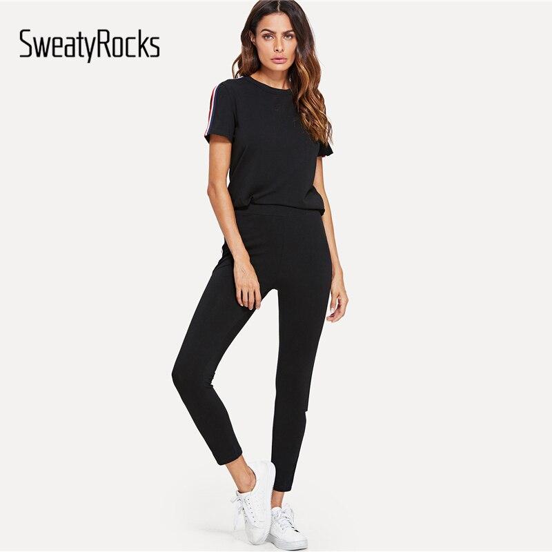 Черный полосатый топ с короткими рукавами и штаны, спортивный двубортный комплект, повседневный женский спортивный комплект из 2 предметов
