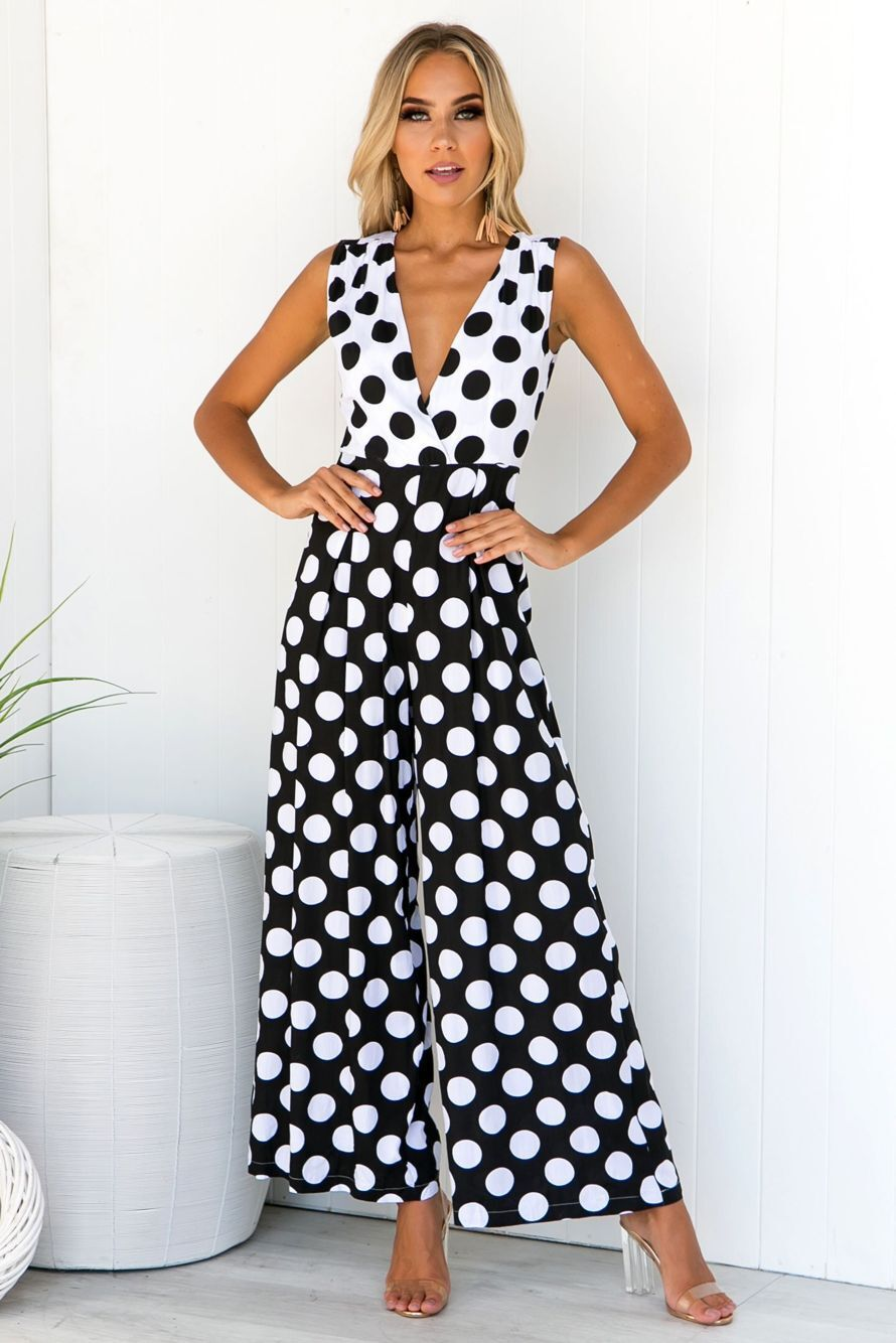 Sexy Women Strap Printed Polka Dot Loose Trousers Casual Jumpsuit Party Wide Leg Long Playsuit Summer Sleeveless Female Rompers