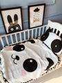 Diâmetro 120 CM Cobertor Do Bebê Swaddle Me Gaze de Algodão de Alta Densidade preto e Branco Panda Dos Desenhos Animados Do Bebê Cobertor Do Bebê Travesseiro da Cama de Bebê D