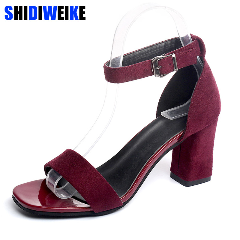 Sandals Summer Ankle-Strap Party-Dress Shoes Women Chunky Open-Toe High-Heels Big-Size
