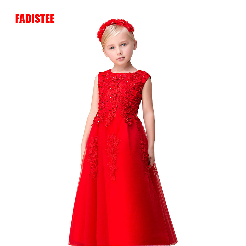New Arrival Pretty   Flower     Girl     Dresses   appliques beading Baby   Girl     Dress   with floor length long style   dresses