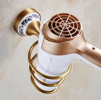 Free Shipping Wall Mounted Hair Dryer Holder Antique Brass Hair Dryer Rack Bathroom Accessories Storage Shelf