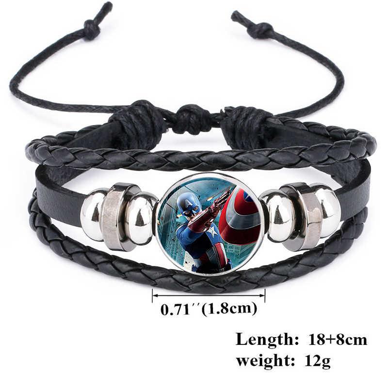 Pulseira de couro, pulseira da moda homem de ferro, thor, hulk, tempo gema, pulseira de couro de tecelagem, joias para crianças, presentes fofos