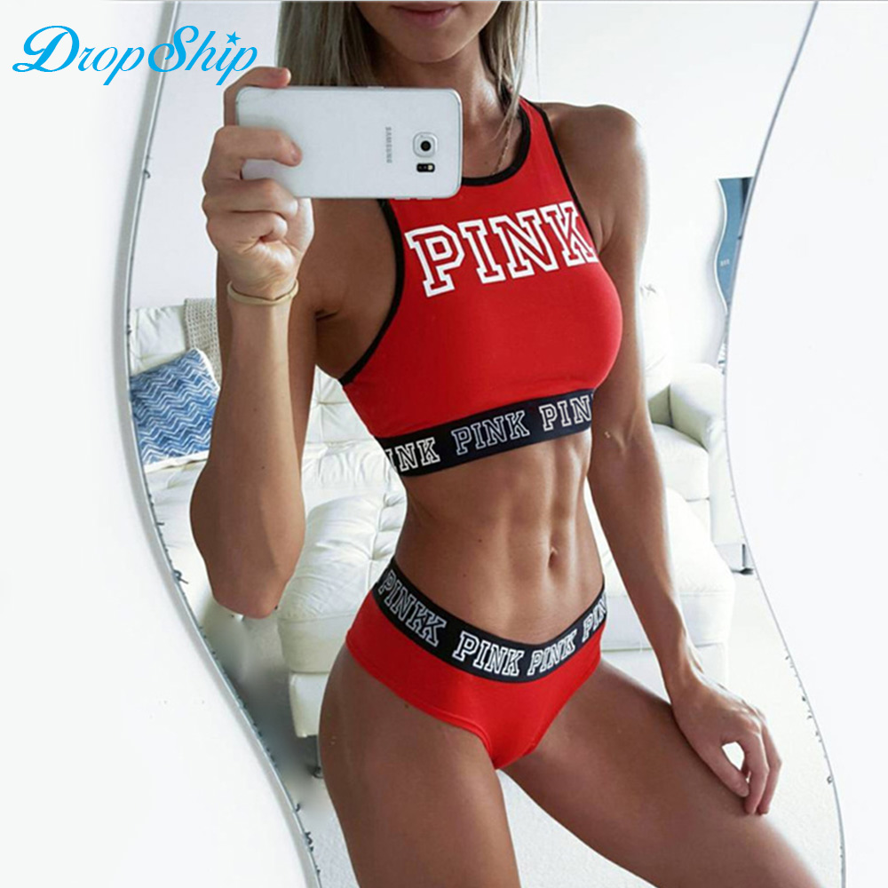 Dropship Spring Casual Crop Top Sexy Pink Letter Tank Top Black Camisole Tube Top 2018 Off Shoulder Halter Sexy Fitness Tops ...