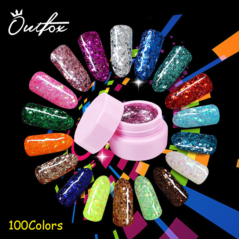 8ml Sequins Glitter Powder Uv Gel Nail Polish 100 Colors