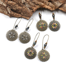 Geometric Round Multicolour Flowers Vintage Bohemia Copper Alloy Hanging Drop Dangle Earrings for Women
