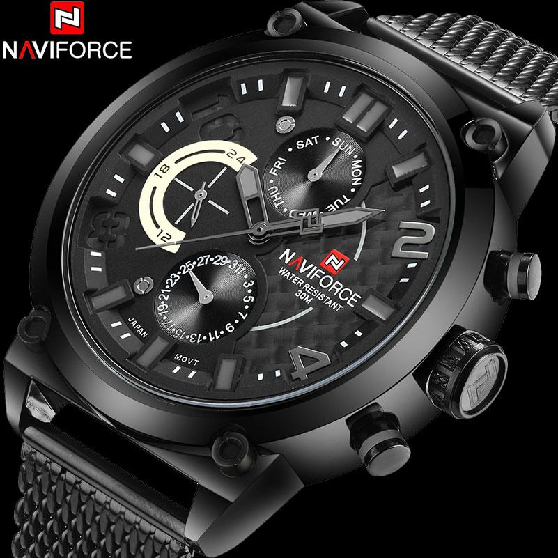 Prix pour NAVIFORCE hommes de mode casual sport quartz montres maille bande alliage noir cas 30 M étanche analogique montres reloj hombre
