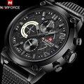 NAVIFORCE men's fashion casual sport quartz watches mesh band alloy black case 30M waterproof analog wristwatches reloj hombre