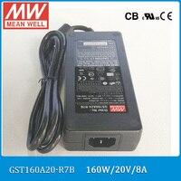 Original Meanwell GST160A20 R7B 160W 20V 8A AC/DC Level VI Mean well desktop Adaptor with PFC