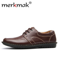 Merkmak New Fashion Men Casual Leather Shoes Genuine Leather Men S Flats Black Brown Soft Comfort