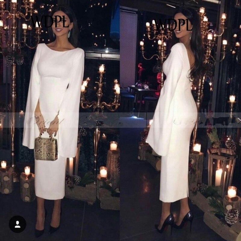 Elegant Arabic   Evening     Dresses   Long White abiye gece elbisesi Modest Formal Party Gowns Sheath Pageant Gowns Custom Made