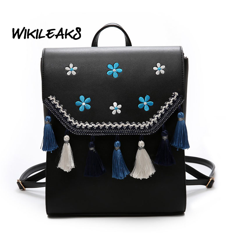 WIKILEAKS 2017 Newest Floral Pu Leather Backpack Women Embroidery School Bag For Teenage Girls Brand Ladies