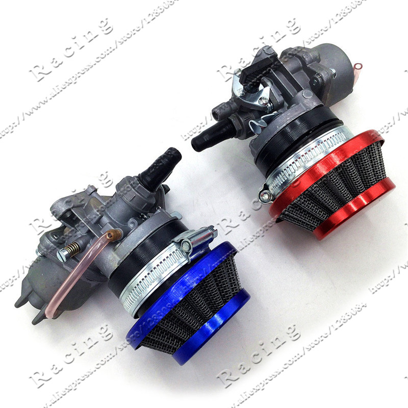 Carburateur Carb Carby + Acier 44mm Filtre À Air Rouge Bleu + Pile pour 47cc 49cc Mini Moto Dirt Pocket Bike ATV Quad Go Kart Minimoto