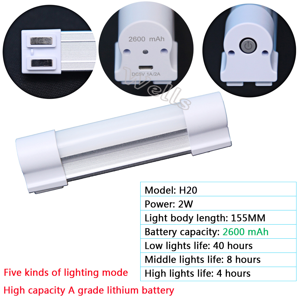 High quality 7W Rechargeable LED Tube Wireless multi function Emergency lights for Indoor led camping lamp in Emergency Lights from Lights Lighting