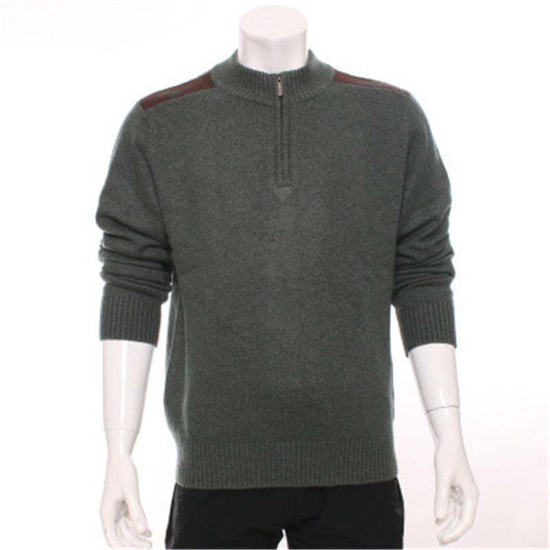 100%goat Cashmere Zipper Turtleneck Knit Men New Fashion Solid Pullover Sweater Spliced Elbow Red 3color S-2XL