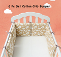 Infant Crib Bumper Bed Protector Baby Kids Cotton Cot Nursery bedding 6 pc Cotton Brown Beer Square Pillow Cushion for girl boy