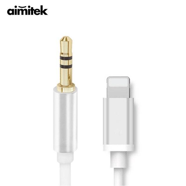 finest selection 014f8 741d2 US $7.46 22% OFF|Aimitek Premium 3.5mm Auto AUX Kabel voor iPhone 7 7 Plus  8 Pin om 3.5mm Jack Voertuig Stereo Speaker Adapter Ondersteuning IOS 10 ...